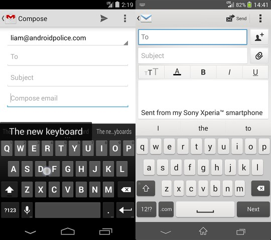 email and keyboard comparison