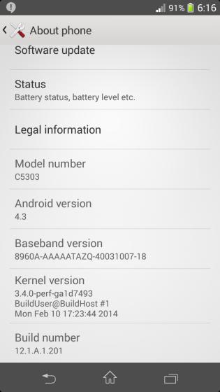 скриншот прошивки Xperia SP 12.1.A.1.201