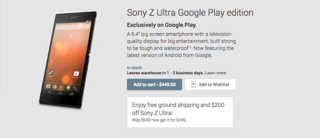 Xperia Z Ultra Google Play Edition подешевел на 200$