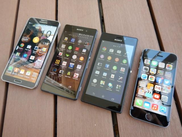 живые снимки фото Xperia M2 и сравнение с Xperia Z2 и iPhone 5s и Galaxy S5