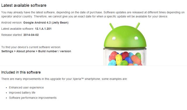 список изменений в прошивке Xperia SP 12.1.A.1.201