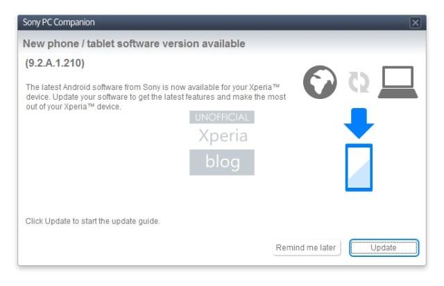 Обновление прошивки 9.2.A.1.210 для Xperia V (LT29i)