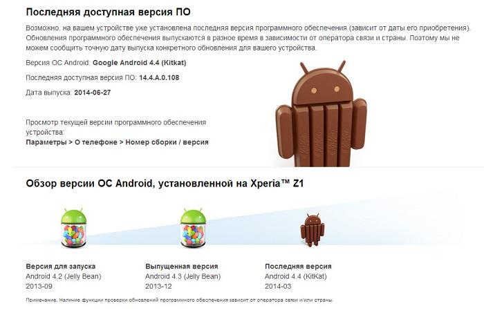 Обновление Android 4.4.4 (14.4.A.0.108) получают Xperia Z1 и Xperia Z Ultra