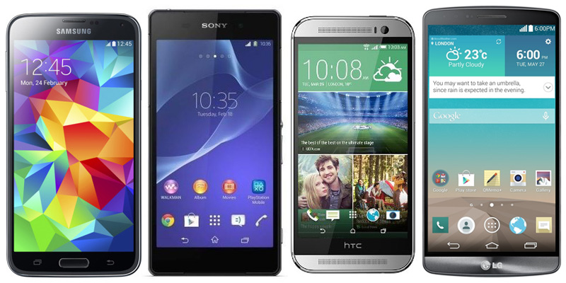 сравнение размеров Xperia Z2 vs One M8 vs Galaxy S5 vs LG G3