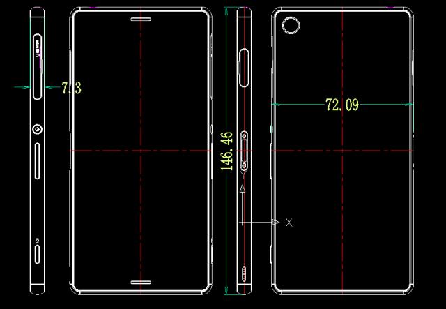 Утечка схематично показывающая Xperia Z3 и Xperia Z2 Compact (Z3 Compact)