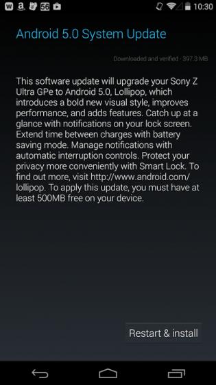 Xperia Z Ultra GPE обновляется до Android 5.0 Lollipop