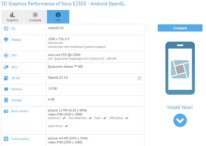 Новый 5,2-дюймовый Xperia смартфон замечен в бенчмарках, c Android Lollipop на борту