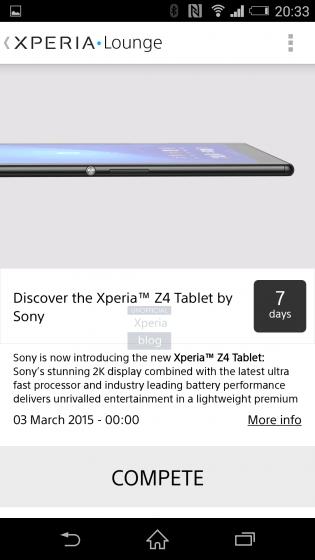 Утечка от Sony: промо-картинка Xperia Z4 Tablet с 2K экраном