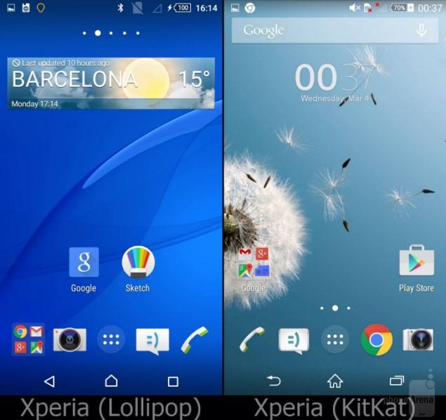 Сравнение интерфейсов Xperia UI: KitKat VS Lollipop
