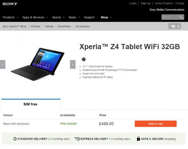 Начало предзаказов на Xperia Z4 Tablet в Европе