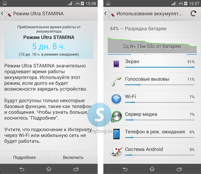 Обзор Xperia E4 - время работы