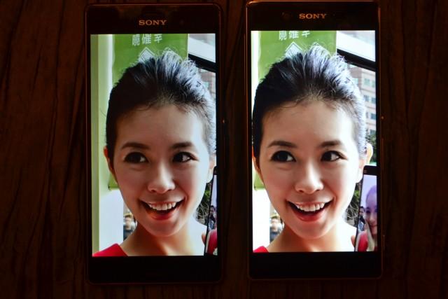 Экран Xperia Z3+ и экран  Xperia Z3 - сравнение яркости