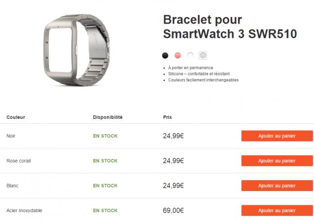 Браслет Smartwatch 3 Stainless Steel SWR510 начал поступать в продажу во Франции