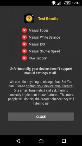 В камере Xperia нету ручных настроек, даже после обновления Android 5.1 Lollipop