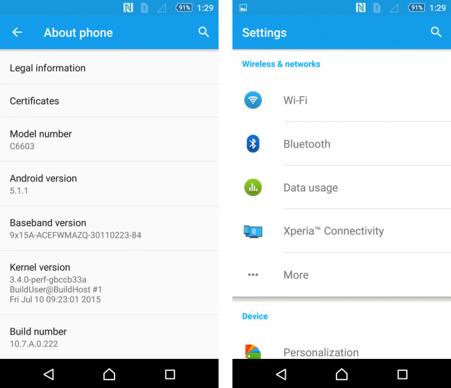 Обновление Android 5.1.1 Lollipop для Xperia Z