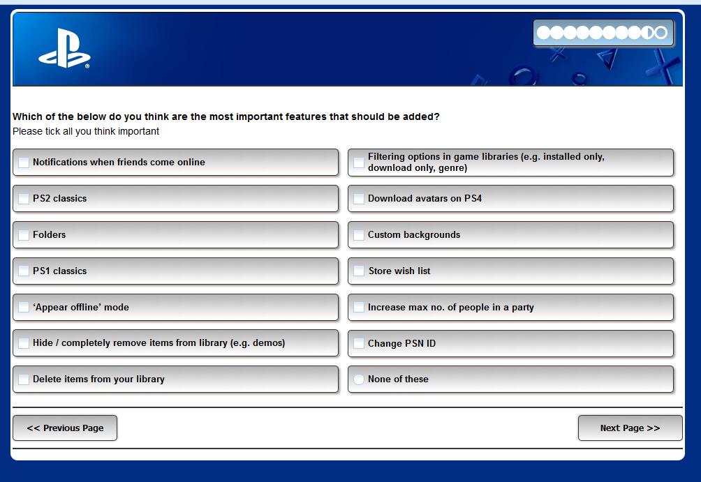 Опрос новых функций PS4