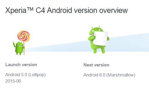 Xperia C4 Android 6.0 Marshmallow
