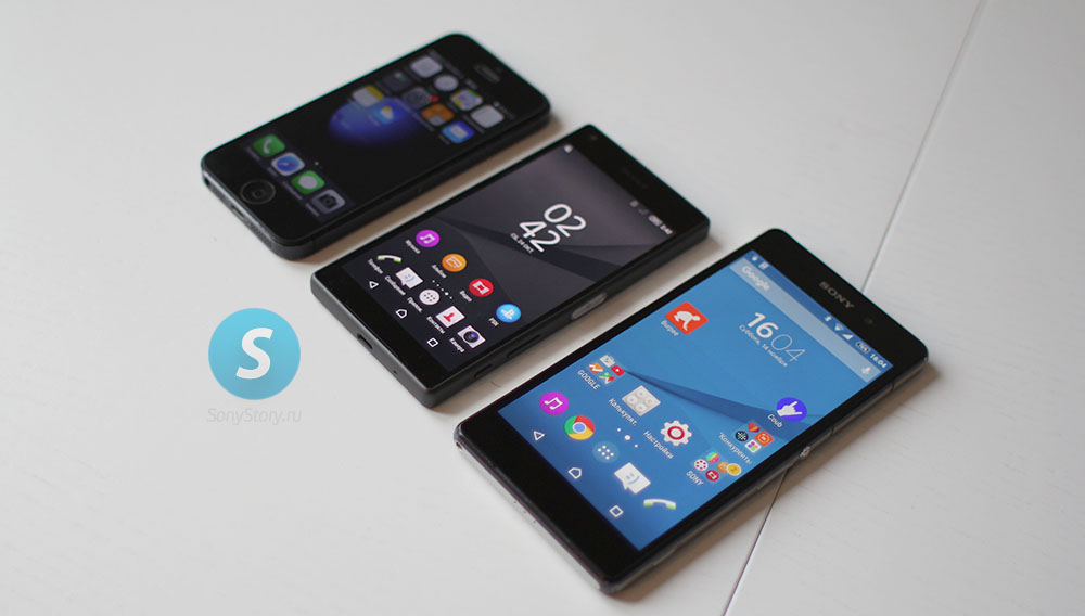 Сравнение Xperia Z5 Compact, iPhone 5, Xperia Z2 - включенные экраны