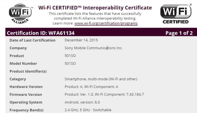 Сертификация Xperia Z5 Android 6.0 Marshmallow