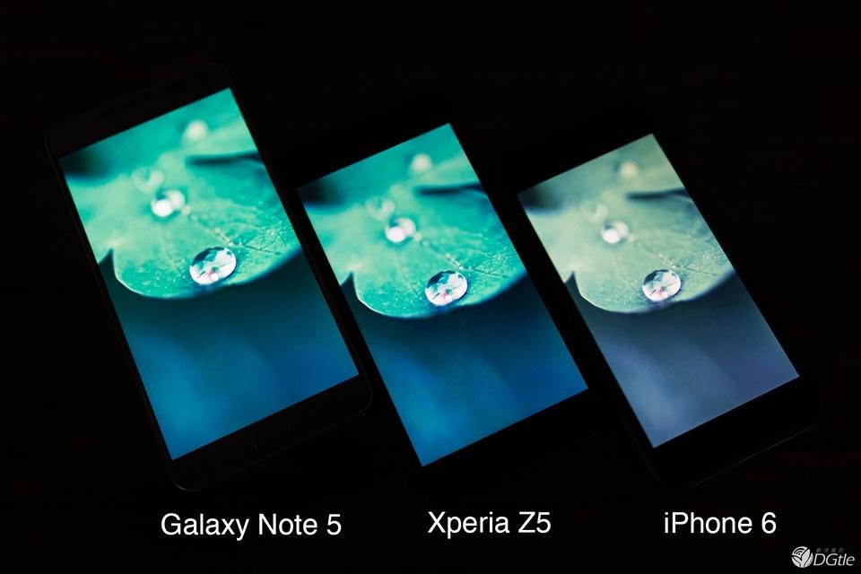 Сравнение экранов Xperia Z5 и Galaxy Note 5 и iphone 6