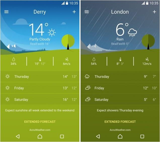 sony weather app