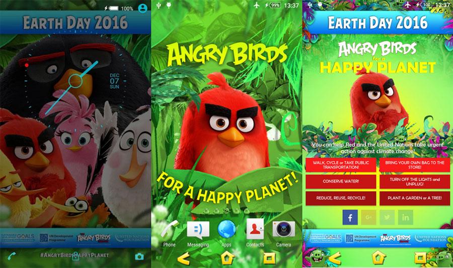 Angry Birds Xperia Тема в поддержку День Земли