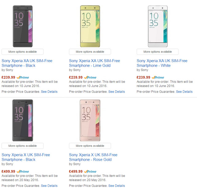 цены на Xperia X и Xperia XA