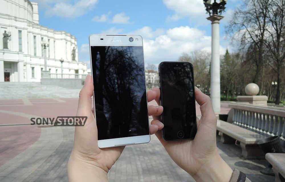 обзор Xperia C5 Ultra и сравнение с iPhone