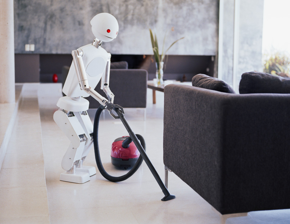 Robot vacuuming living room