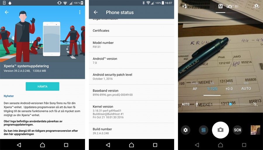 Обновление Android 7.0 Nougat для Xperia X Performance