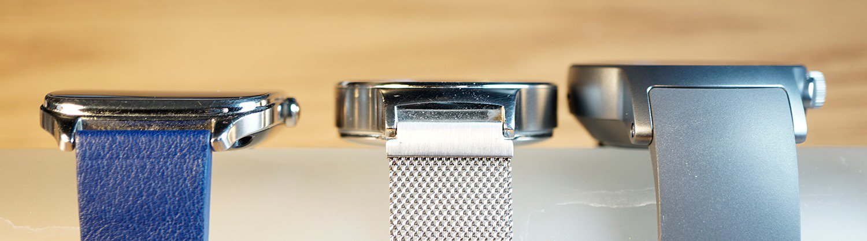 Сравнение толщины: LG Watch Style, Huawei Watch и LG Watch Sport
