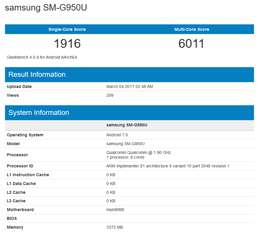 Galaxy s8 в тесте Geekbench