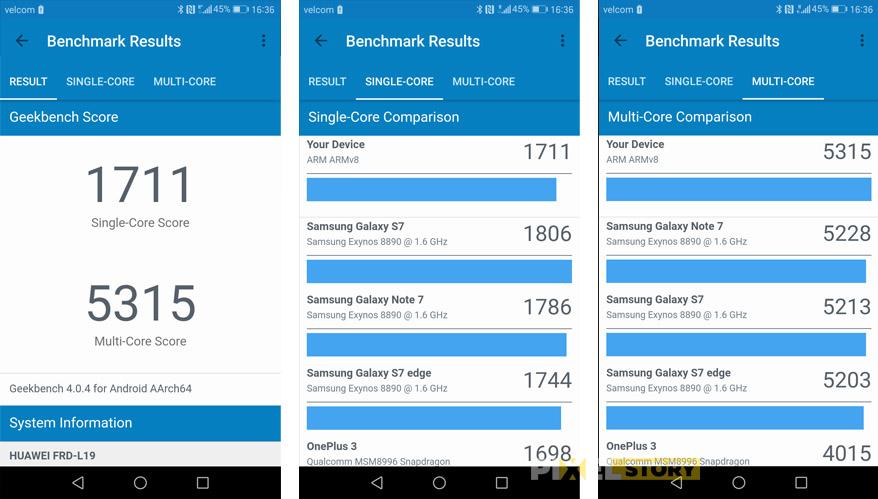 обзор Huawei Honor 8 - результаты в GeekBench