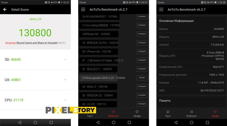 Обзор Huawei Mate 9 - результаты теста в AnTuTu