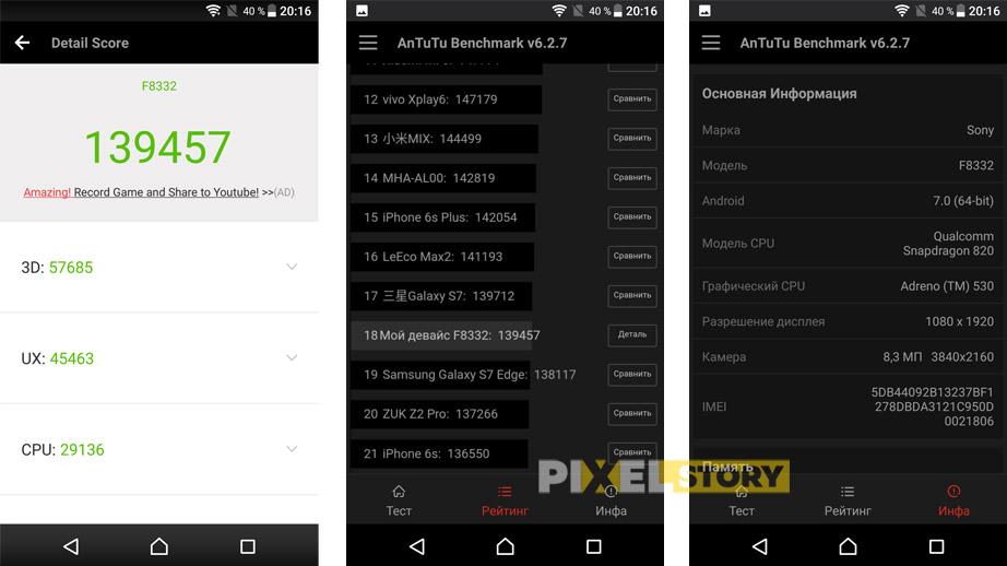 Обзор Sony Xperia XZ - результаты теста AnTuTu