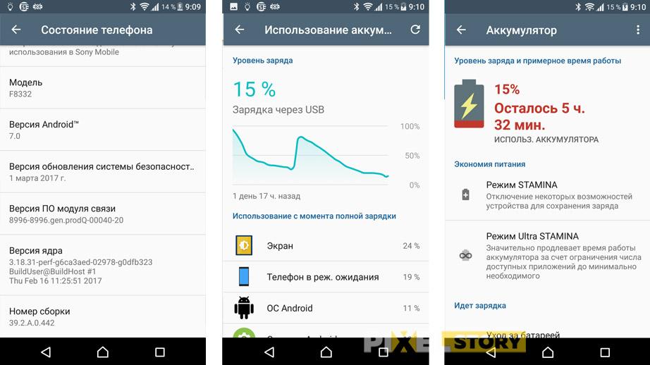 Обзор Sony Xperia XZ - время работы