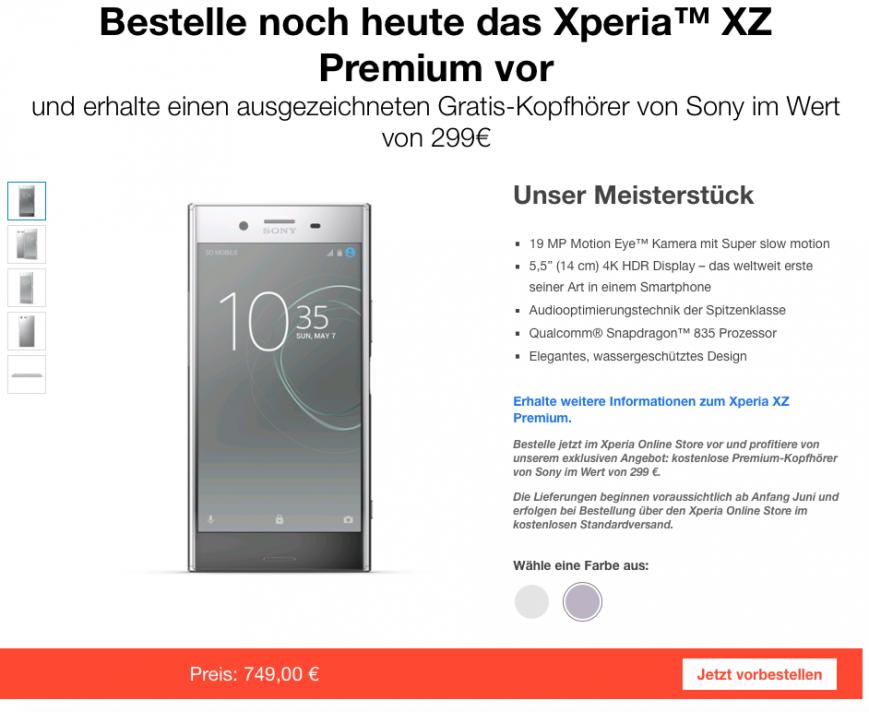 Предзаказ Sony Xperia XZ Premium в Германии