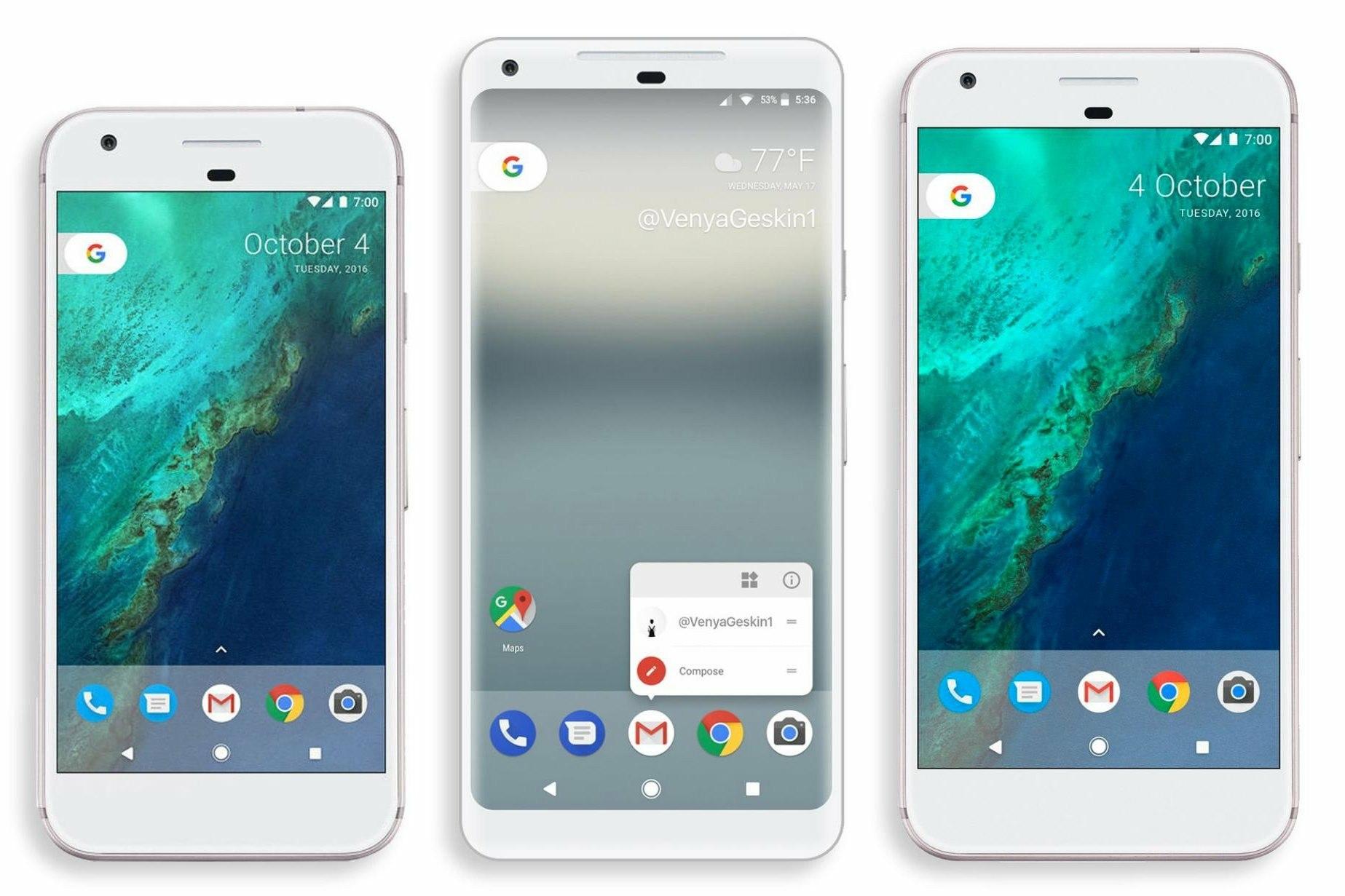 рендер Google Pixel 2 XL в сравнению с текущими Pixel