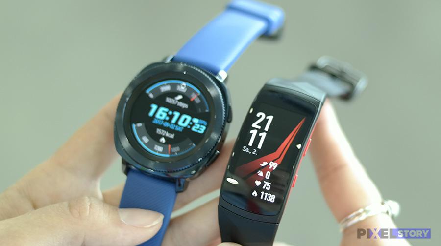 сравнение Samsung Gear Sport и Gear Fit2 Pro