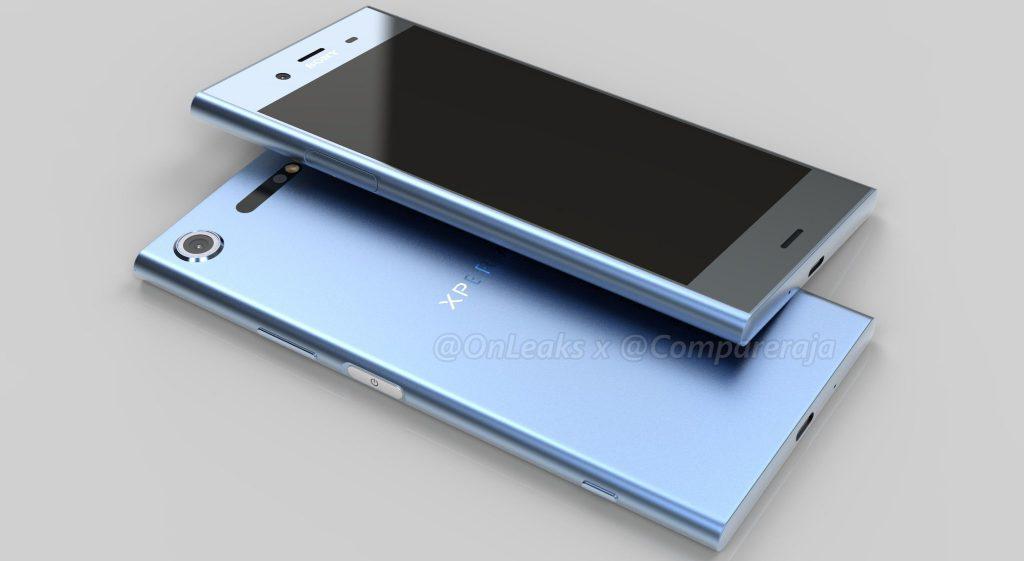 Рендер Xperia XZ1 голубого цвета
