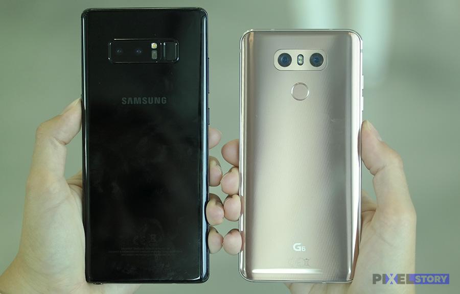 Сравнение Galaxy Note 8 и LG G6