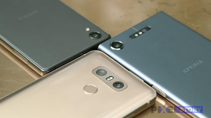 Внешний вид основных камер Xperia XZ1, Xperia X и LG G6