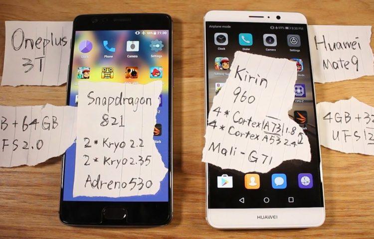 Huawei-mate-9-vs-Oneplus-3t тест скорости