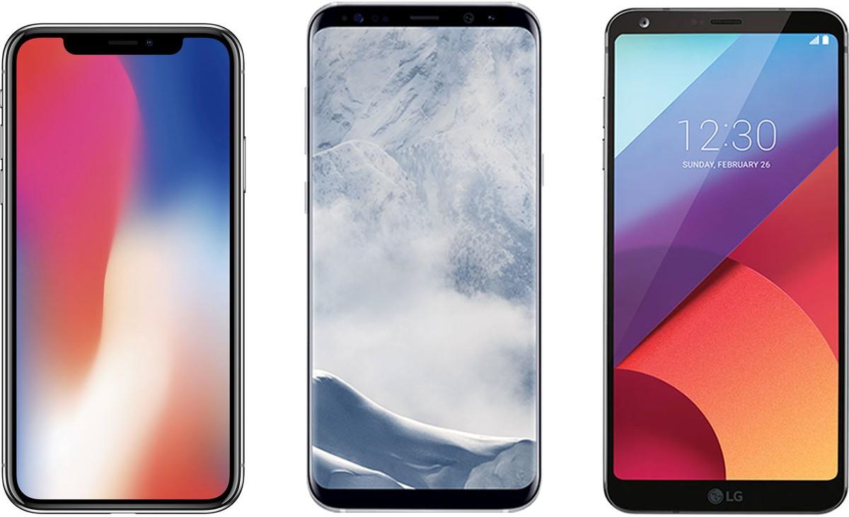 """iPhone X, Galaxy S8 и LG G6. Айфон выделяет только """"монобровь""""."""
