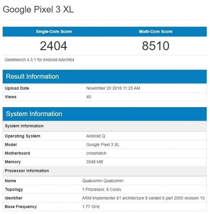 Google Pixel 3 XL с Android Q (Android 10) засветился в GeekBench
